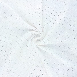 Double cotton gauze fabric - white Mini rainbow dot x 10cm