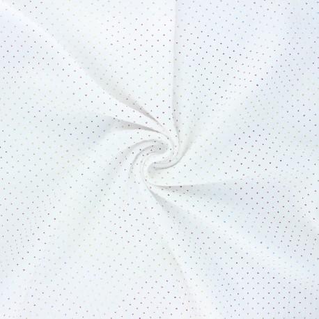 Double cotton gauze fabric - white Mini rainbow dot x 10cm