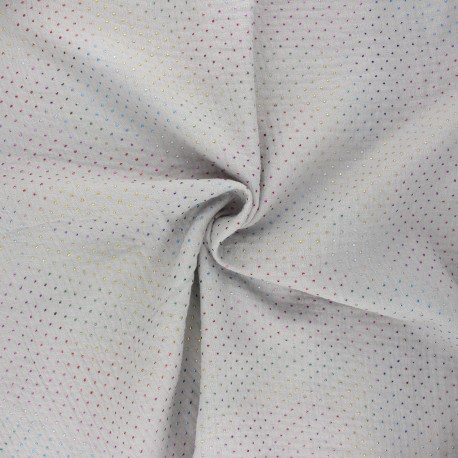 Double cotton gauze fabric - light grey Mini rainbow dot x 10cm