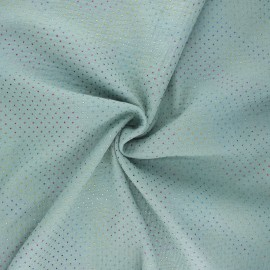 Double cotton gauze fabric - sage green Mini rainbow dot x 10cm
