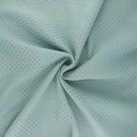 Double cotton gauze fabric - sage green Mini rainbow dot x 10cm