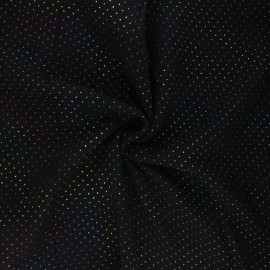 Double cotton gauze fabric - black Mini rainbow dot x 10cm