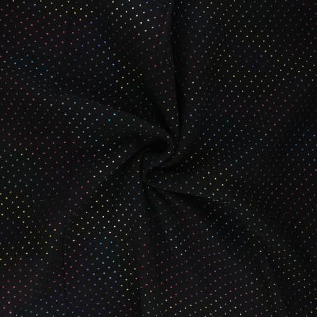 Double cotton gauze fabric - black Mini rainbow dot x 10cm