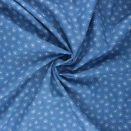 Poplin cotton fabric - swell blue Tarassaco x 10cm