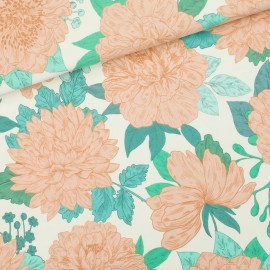 See you at six french terry fabric - off-white Peonies x 10 cm