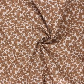 Poplin cotton fabric - brown Garden lover x 10cm