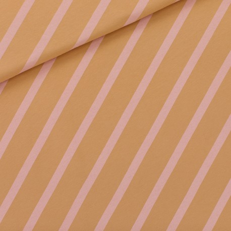 See you at six french terry fabric - Fenugreek brown Diagonals XL x 10 cm