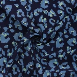 Tissu viscose Camo panther - bleu nuit x 10cm