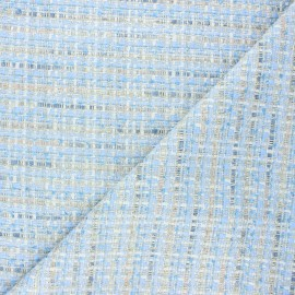 Lurex tweed fabric - blue Eudoxie x 10cm