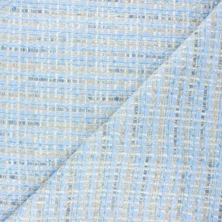 Lurex tweed fabric - blue Eudoxie x 10cm