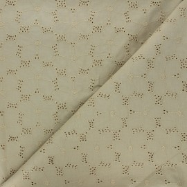 Openwork cotton voile fabric - khaki Juline x 10cm