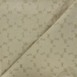Tissu voile de coton broderie anglaise Juline - kaki x 10cm