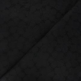 Openwork cotton voile fabric - black Juline x 10cm