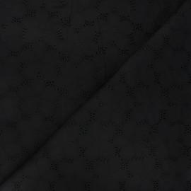 Tissu voile de coton broderie anglaise Juline - noir x 10cm