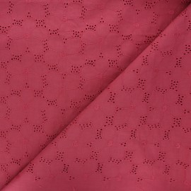 Openwork cotton voile fabric - rosewood Juline x 10cm