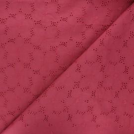 Tissu voile de coton broderie anglaise Juline - bois de rose x 10cm