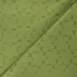 Openwork cotton voile fabric - moss green Juline x 10cm