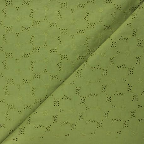 Openwork cotton voile fabric - moss green Juline x 10cm