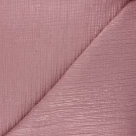 Lurex stripe double cotton gauze fabric - rosewood x 10cm