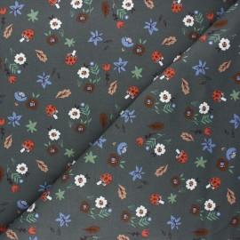 French terry fabric - dark grey Mushroom hunt x 10cm