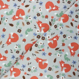 French terry fabric - light grey Forest fox x 10cm