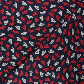 Tissu jersey Little boats - bleu nuit x 10cm