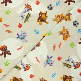 Jersey fabric - sand Pat' Patrouille game x 10cm