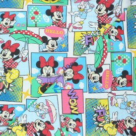 Tissu jersey Minnie's comic strip - blanc x 10cm