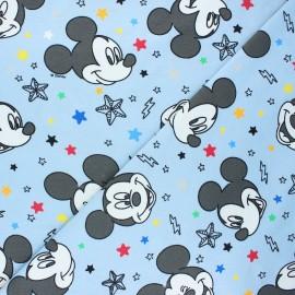 Tissu jersey Happy Mickey - bleu clair x 10cm