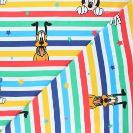 Tissu jersey Vive Mickey ! - blanc x 10cm