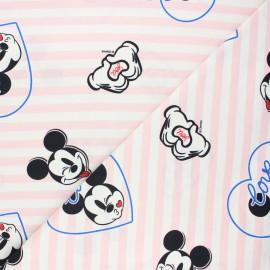 Tissu jersey Mickey love - blanc x 10cm
