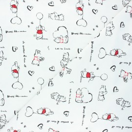 Tissu jersey Winnie love - blanc cassé x 10cm