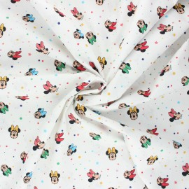 Poplin cotton fabric - white Minnie pop x 10cm