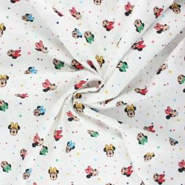 Tissu coton popeline Minnie pop - blanc x 10cm