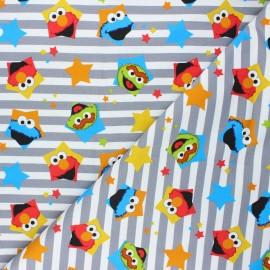 French terry fabric - grey/white Sesame Street x 10cm