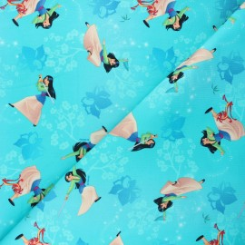 Jersey fabric - turquoise Fighting Mulan x 10cm