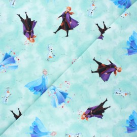 French terry fabric - aqua green Arendelle's kingdom x 10cm