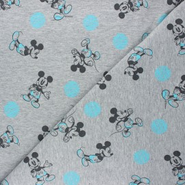 French terry fabric - mottled light grey Mickey Mouse x 10cm