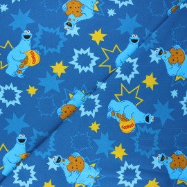 Tissu jersey Cookie Monster - bleu marine x 10cm