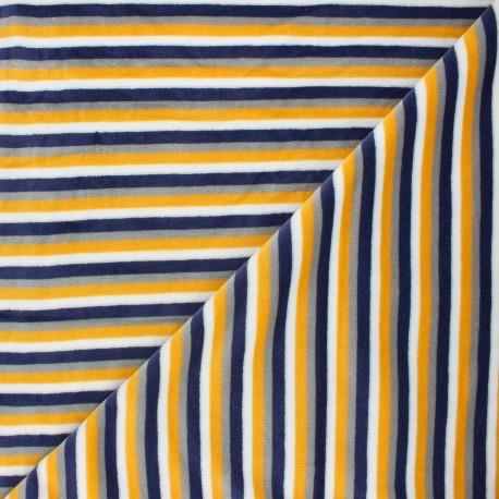 Tissu jersey velours éponge Sète - jaune moutarde x10cm