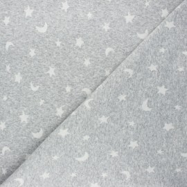 Knitted jersey fabric - mottled light grey Night sky x 10cm