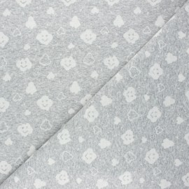 Tissu jersey maille Cloudy sky - gris clair chiné x 10cm