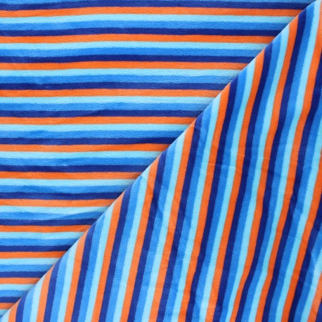 Terry-cloth jersey fabric - blue Sète x 10cm