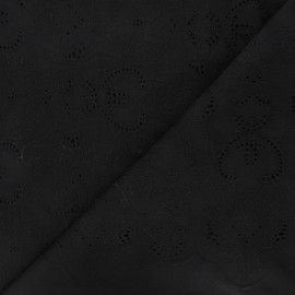 Openwork cotton voile fabric - black Octave x 10cm
