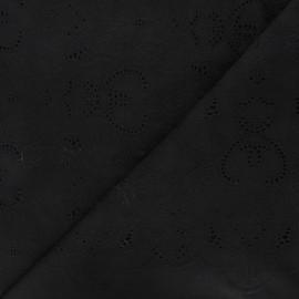 Tissu voile de coton broderie anglaise Octave - noir x 10cm