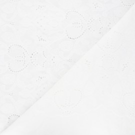 Openwork cotton voile fabric - white Octave x 10cm