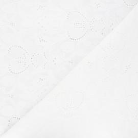 Tissu voile de coton broderie anglaise Octave - blanc x 10cm