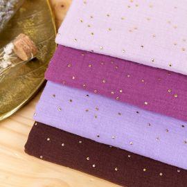 Double cotton gauze fabric - figgy Golden Dots x 10cm