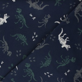 Tissu jersey Dino fossil - bleu nuit x 10cm