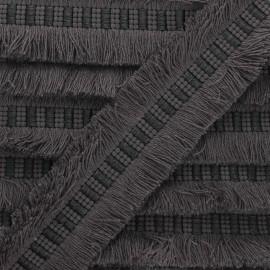 Galon double frange 40mm Wren - gris anthracite x 1m